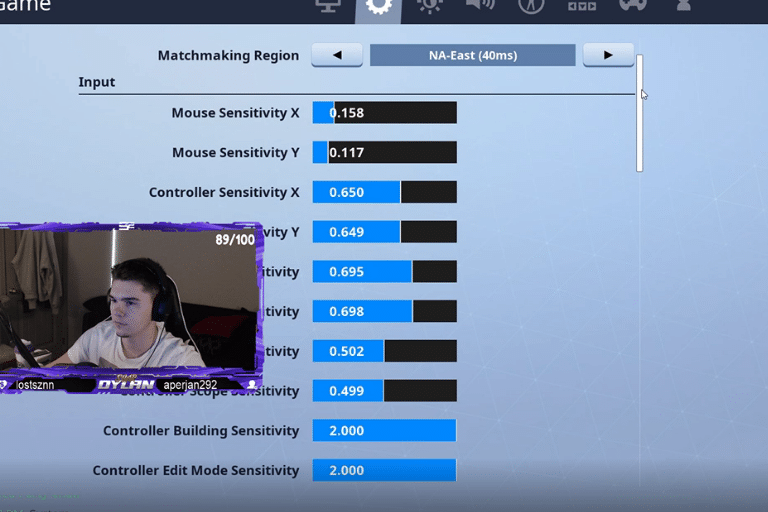 dylan fortnite settings keybinds updated