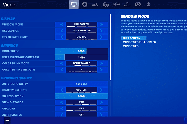 Mongraal Fortnite Settings