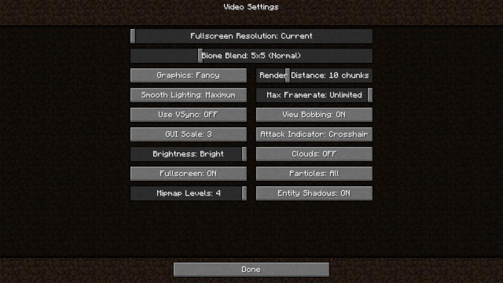 Minecraft Video Settings Menu